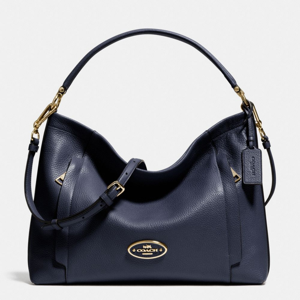 Coach Scout Hobo In Pebble Leather 34312 Light Gold And Navy ...