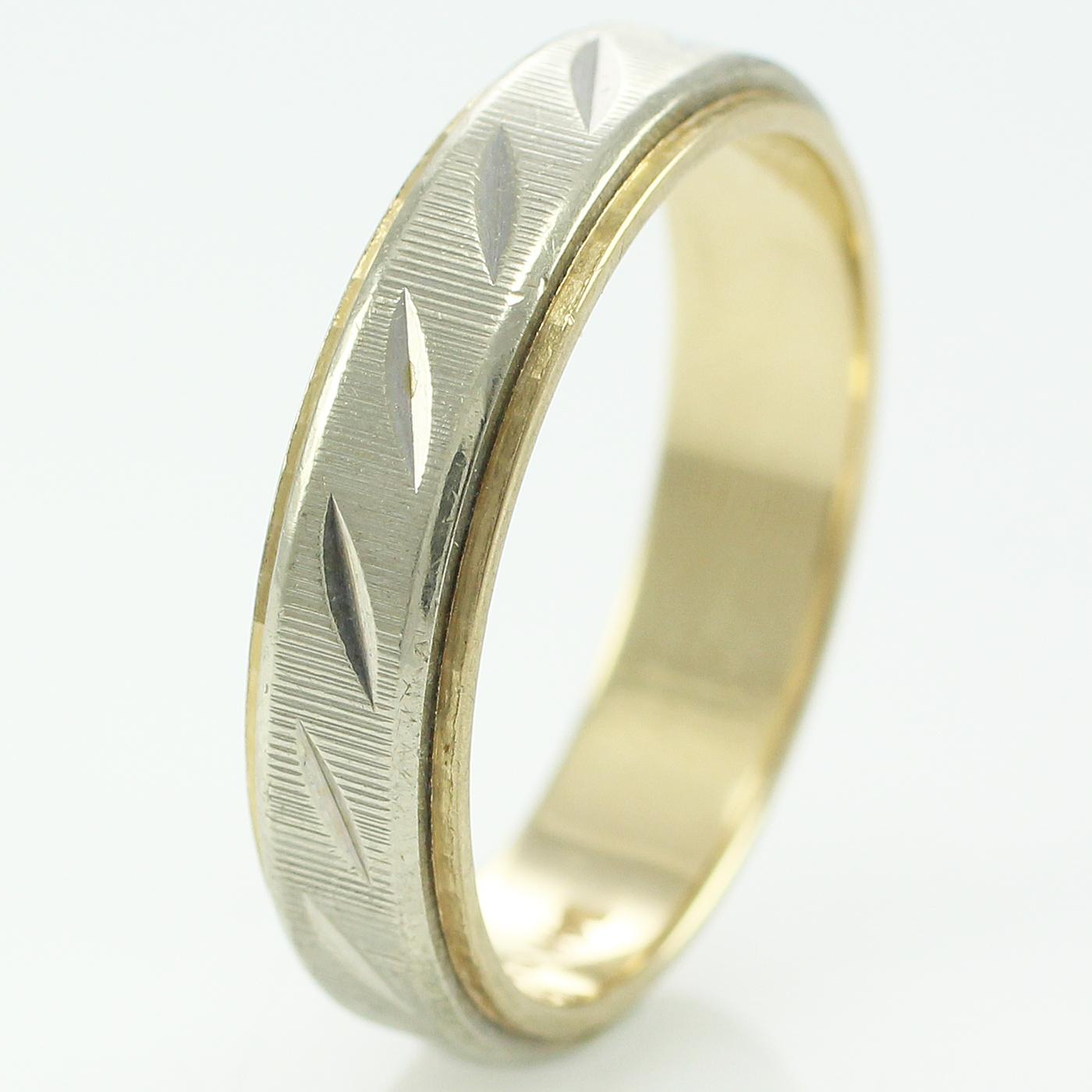 VINTAGE 14K Yellow White GOLD DiamondCut Wedding BAND RING Size 9