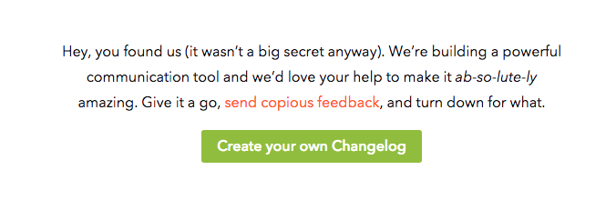 Changelog's welcome message