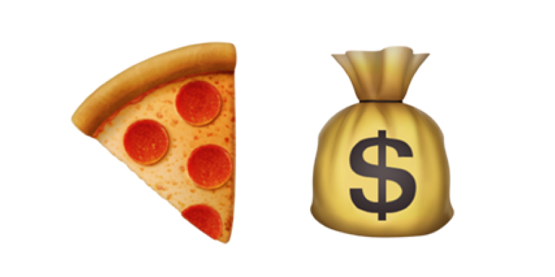 'An image of a slice of pizza and a bag of money'