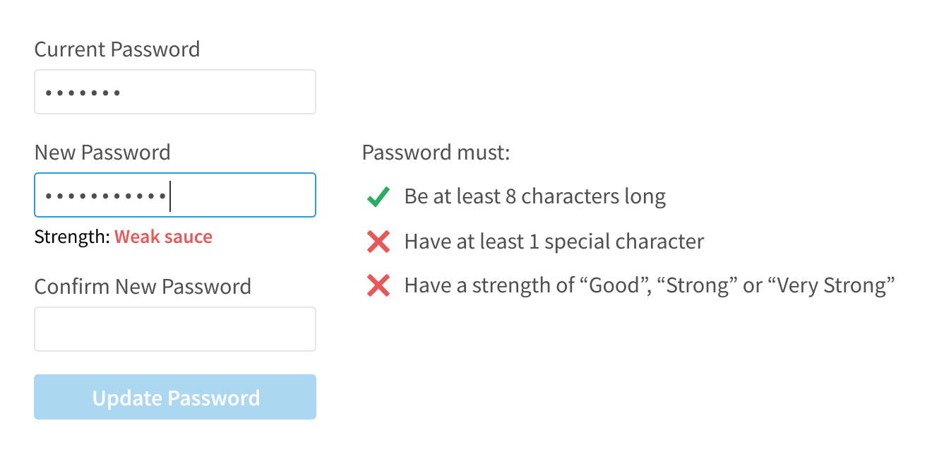 Password reset criteria with check and X