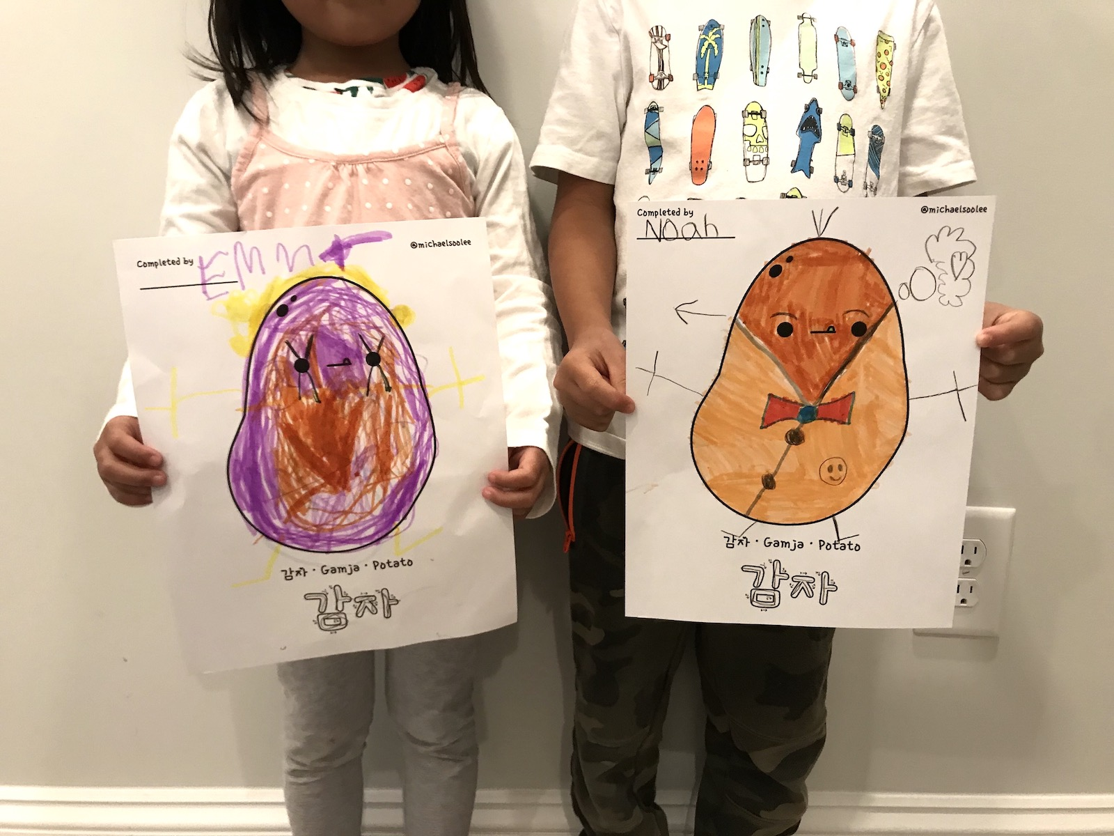 My kids' coloring of the potato illustration