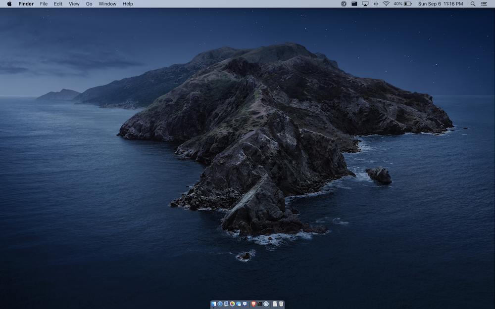 A clean macOS Cataline desktop screenshot