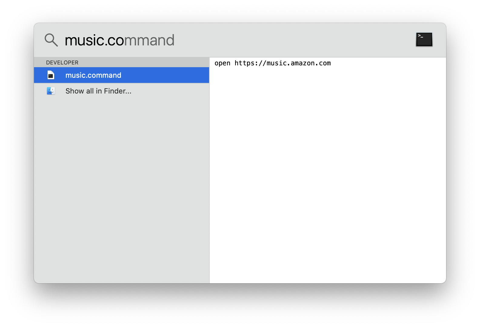 macOS Spotlight with music command