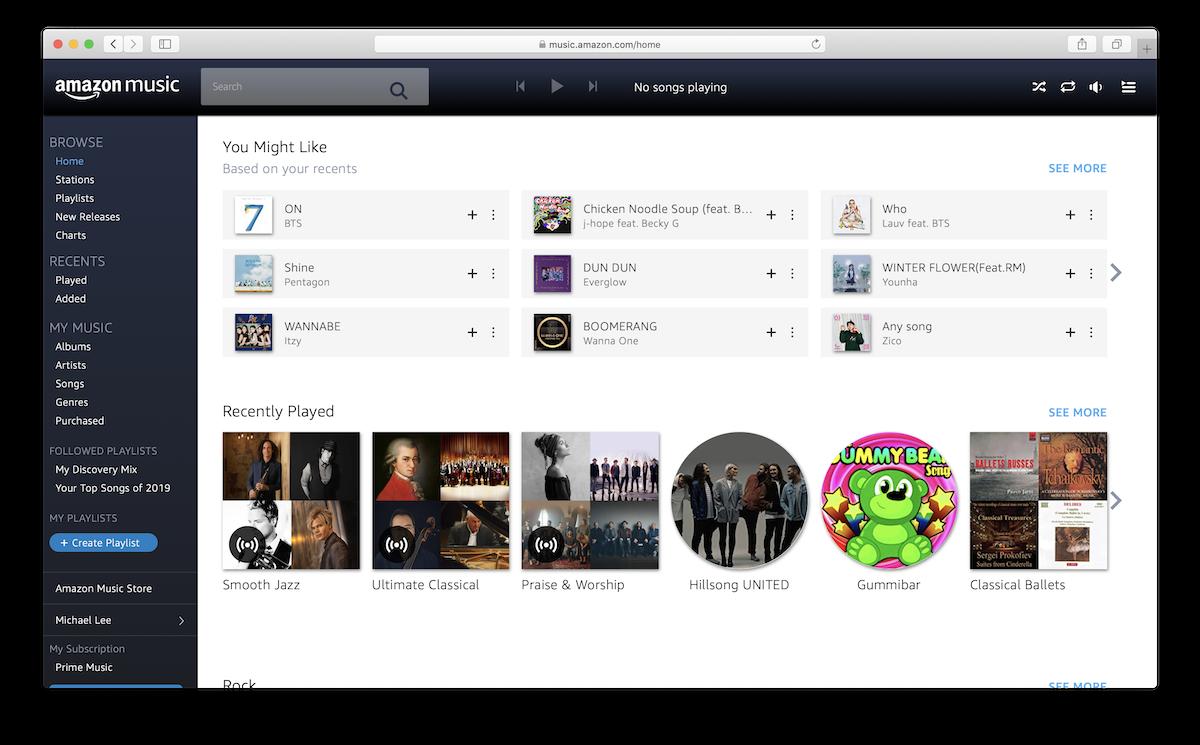 Safari with Amazon Music loaded