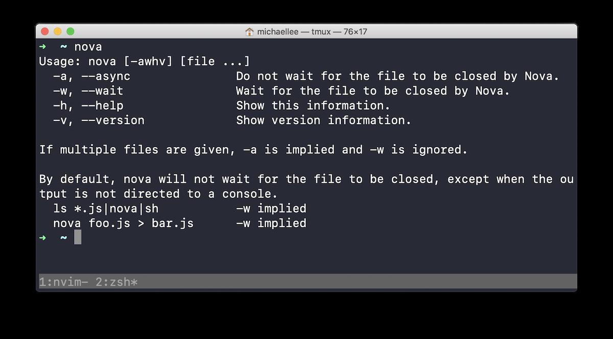 Nova's command line tool running in Terminal.app