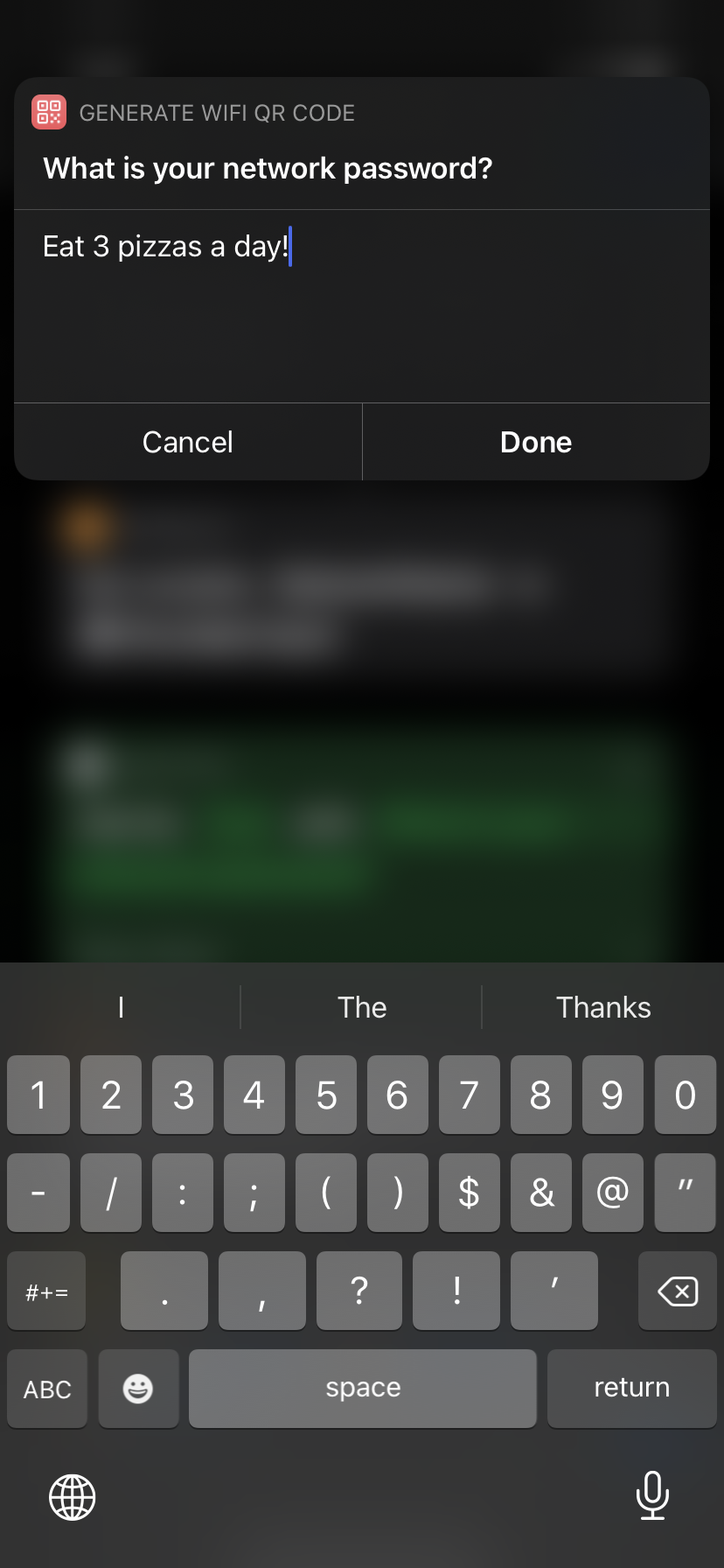 Shortcuts prompt asking for network password