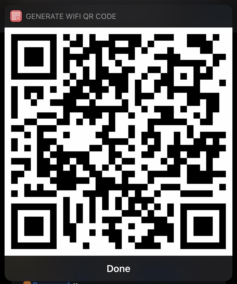 Shortcuts generated Wi-Fi QR code