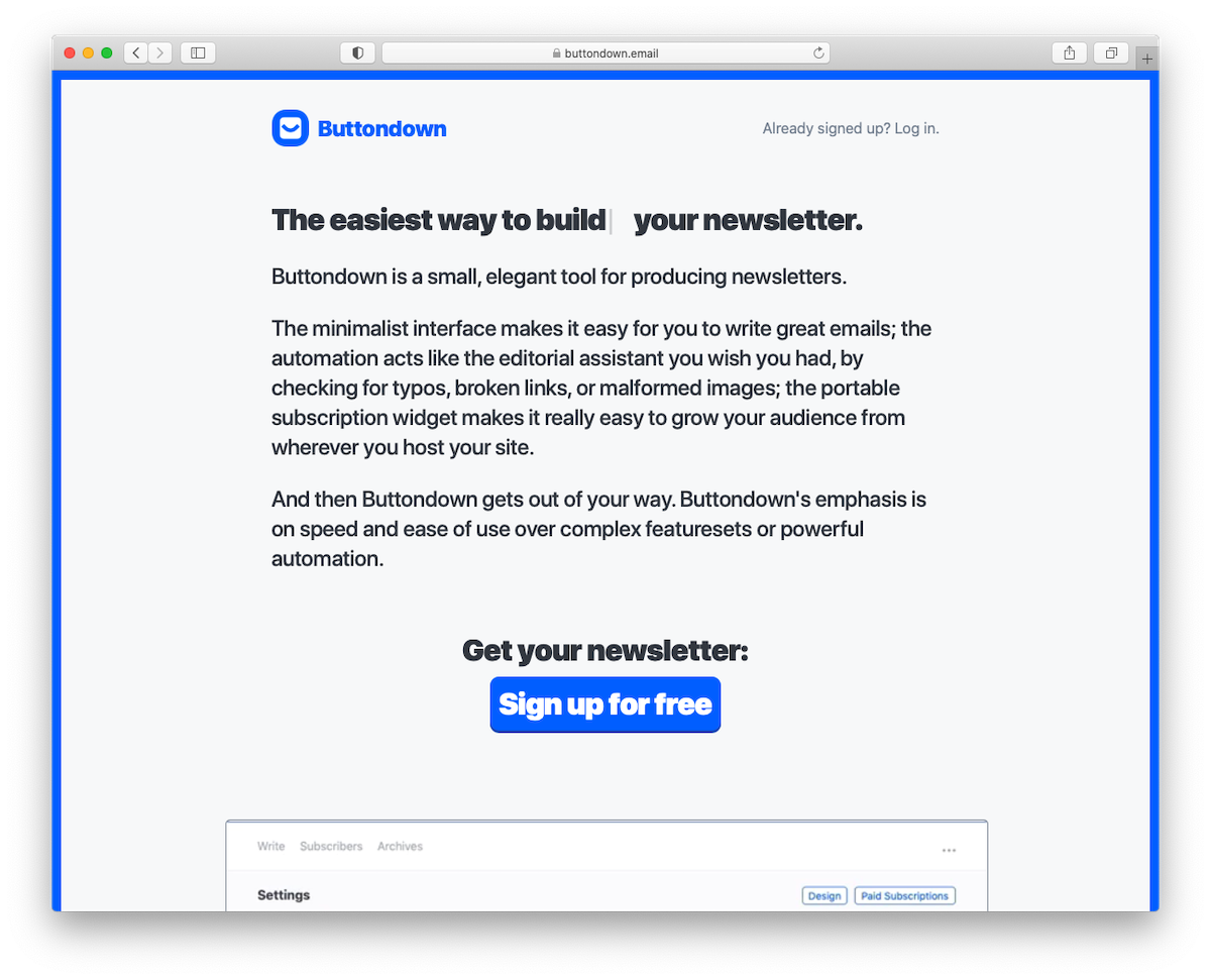 Screenshot of Buttondown's marketing page