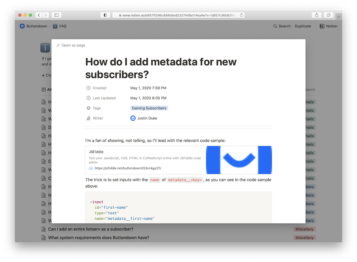 Documentation on how metadata should be used in HTML forms