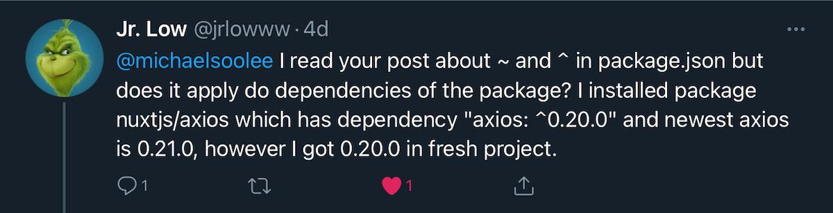 Screenshot of tweet about pre 1.0 caret rule question