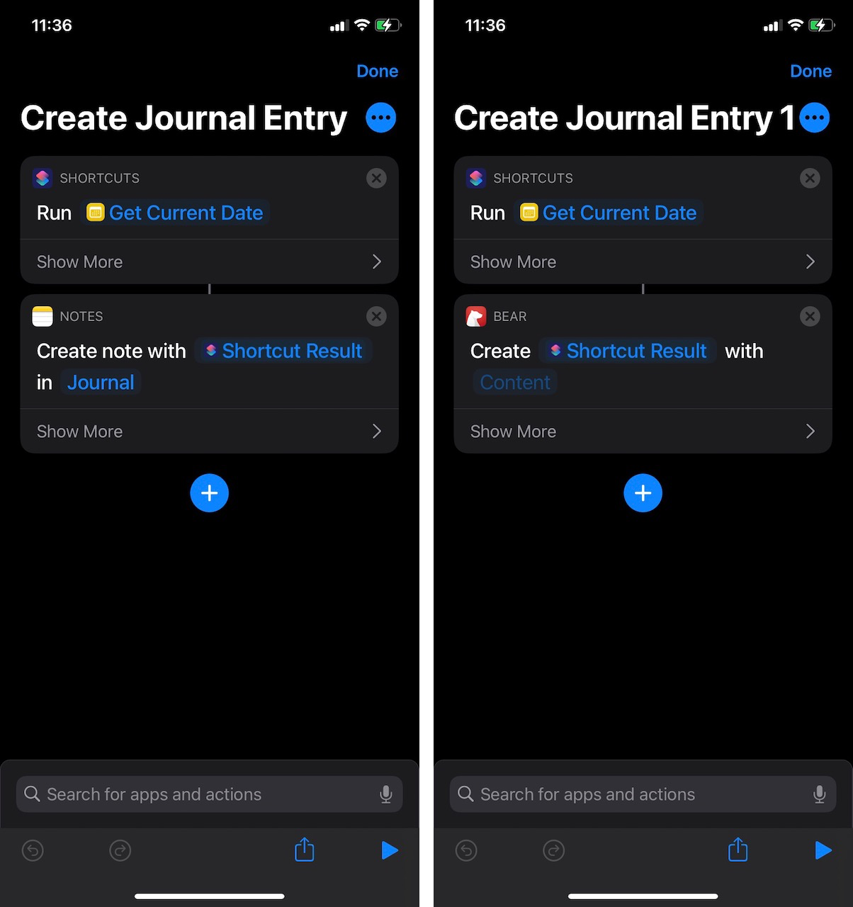 Side by side of Notes shortcut and Bear shortcut