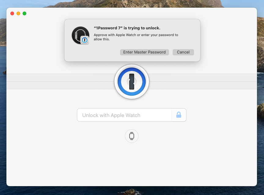 My Macbook Pro with 1Password, asking for the Watch to unlock it