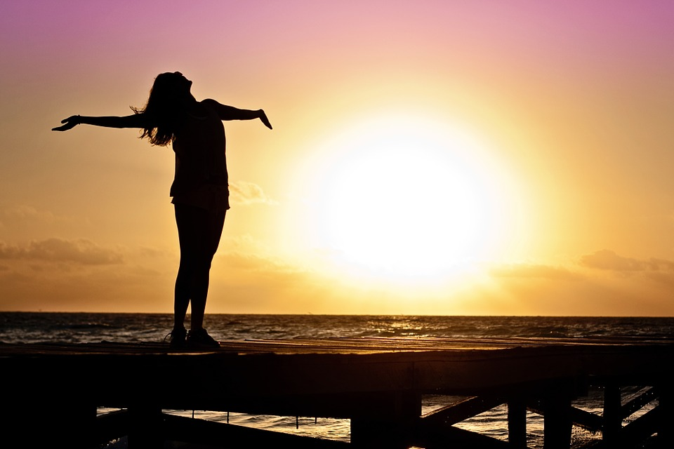 Woman Girl Freedom Happy Sun Silhouette Sunrise