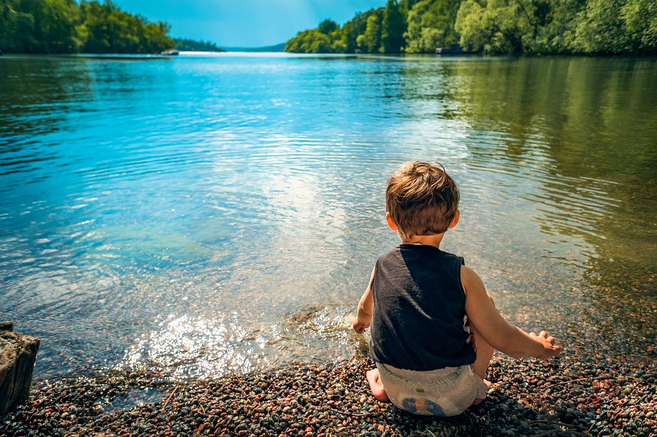 Child Boy Lake Water Playing Toddler Kid Little