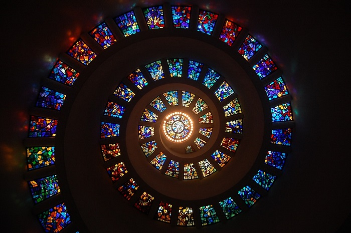 Stained Glass Spiral Circle Pattern Glass Religion