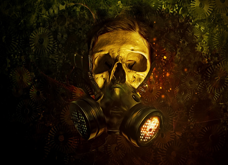 Gas Mask Gas Mask Skull Gears Dark Scifi