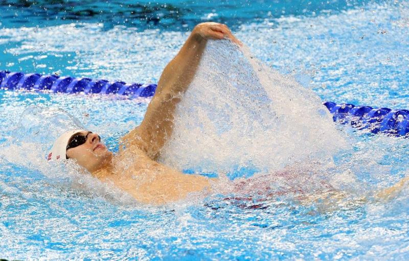 Image of a swimmer doing backstroke