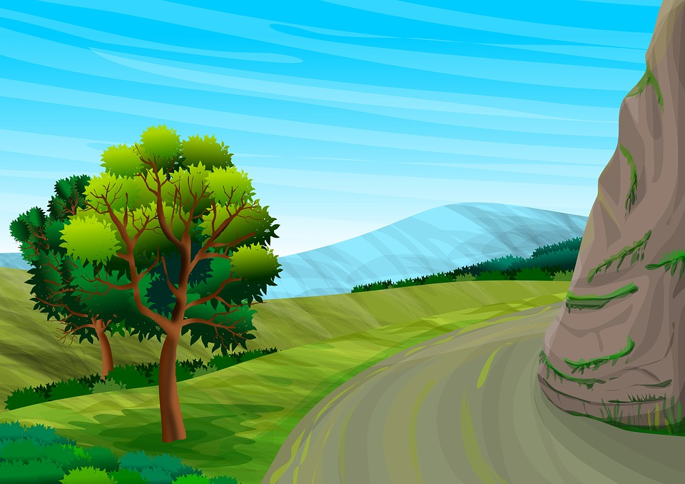 Landscape Trees Mountains Hills Panorama Path