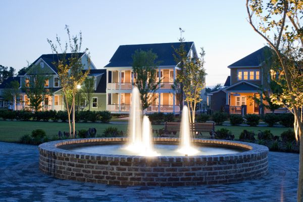 The Village Green and Model Row lie at the heart of the first neighborhood at Carnes Crossroads.