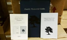 Folder and inserts from the Family Memorial guide