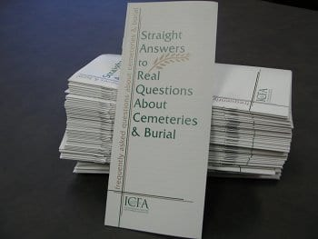 Front page of Straight Answers to Real questions about cemeteries and burial brochure