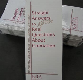Front page of Cremation: Straight Answers to Real Questions brochure