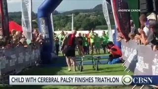 Child with Cerebral Palsy finishes triathlon