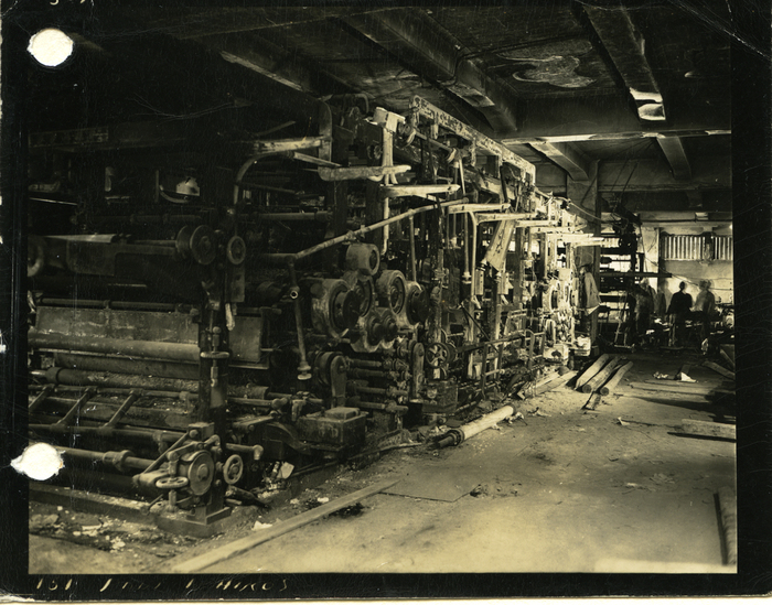 [Severely damaged printing presses, Chugoku Shimbun Building, Hiroshima]