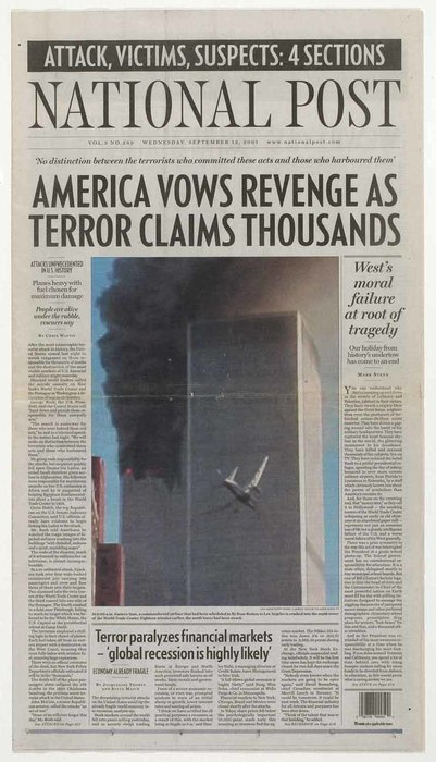 Newspaper: America Vows Revenge As Terror Claims Thousands