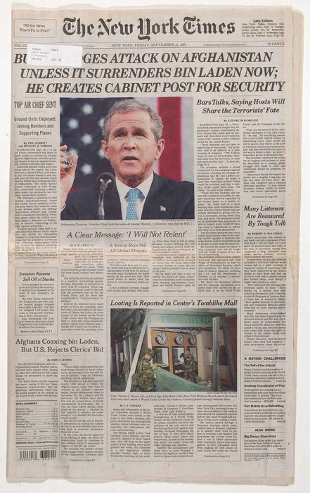 Newspaper: Bush Pledges Attack on Afghanistan unless it Surrenders Bin Laden Now; He Creates Cabinet Post for Security