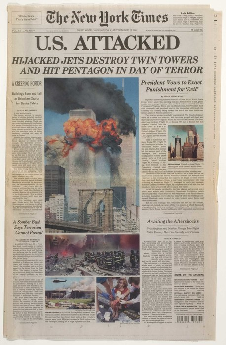 Newspaper: U.S. Attacked: Hijacked Jets Destroy Twin Towers and Hit Pentagon in Day of Terror
