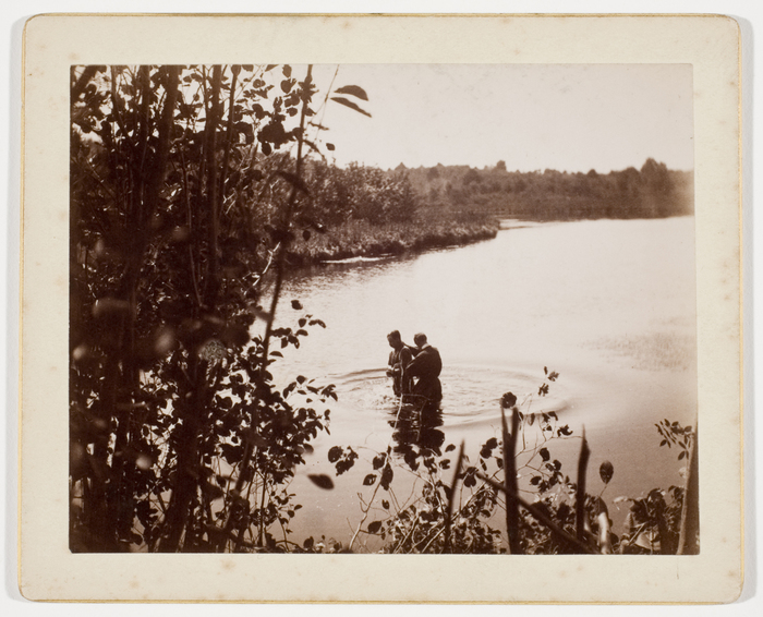 [Rev. M. Shrugler baptizing Mr. Rideout, North River at foot of Sunset Hill, Norwell, Massachusetts]