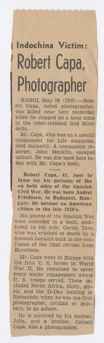 Indochina Victim: Robert Capa, Photographer