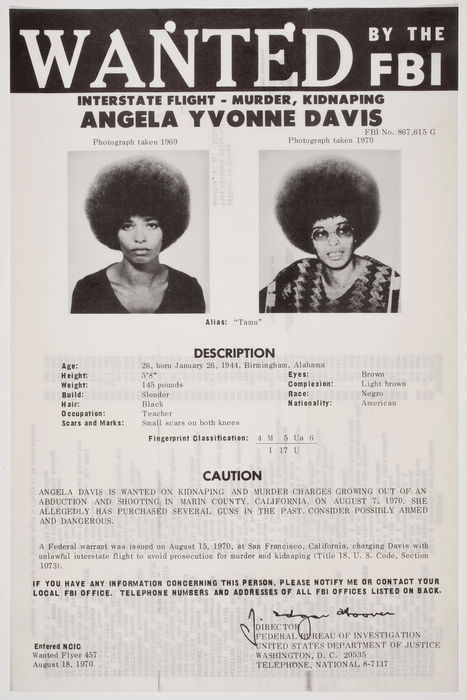 Wanted by the FBI, Interstate Flight - Murder, Kidnaping, Angela Yvonne Davis