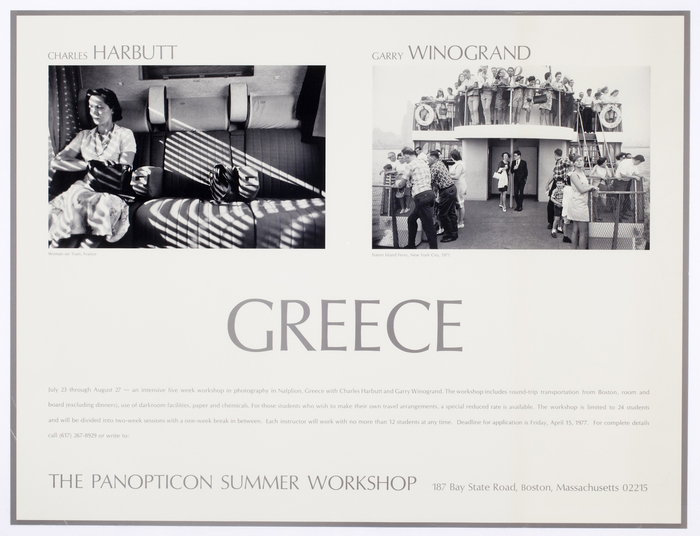[Workshop poster for Panopticon Summer Workshop with Charles Harbutt and Garry Winogrand, Nafplion, Greece]