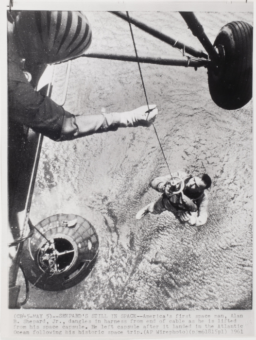 [Alan Shepard being hoisted from his space capsule, Atlantic Ocean]