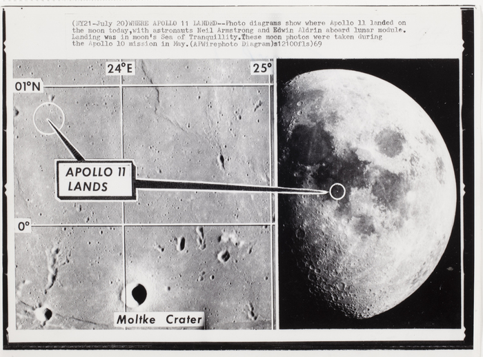 [Diagrams showing where Apollo 11 landed, Sea of Tranquillity on moon]