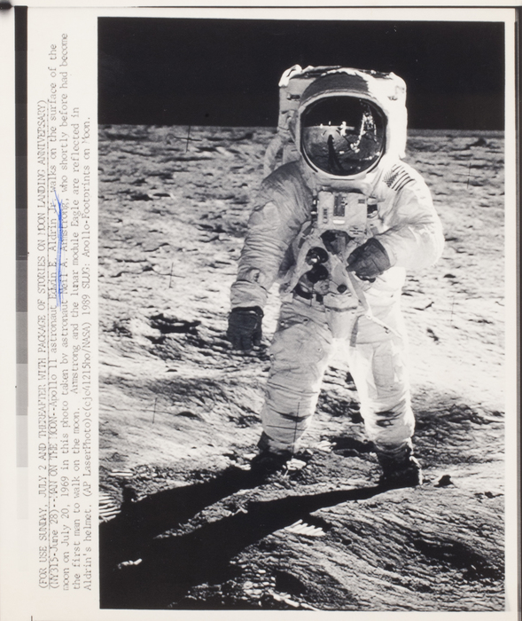 [Buzz Aldrin walking on moon]