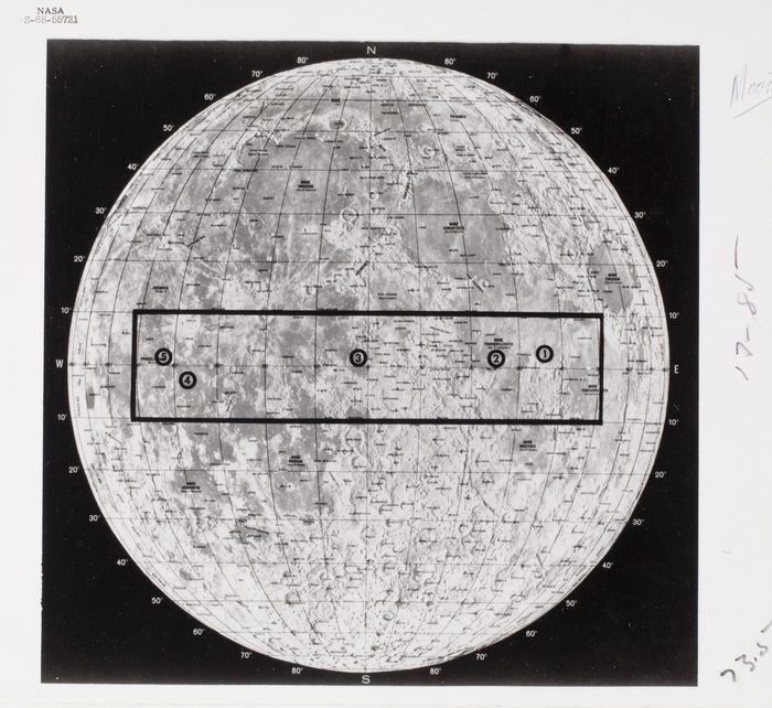 [Moon annotated with possible sites to be photographed]
