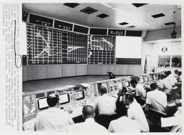 [Mission Control at touchdown of Apollo 11 lunar module, Manned Spacecraft Center, Houston]
