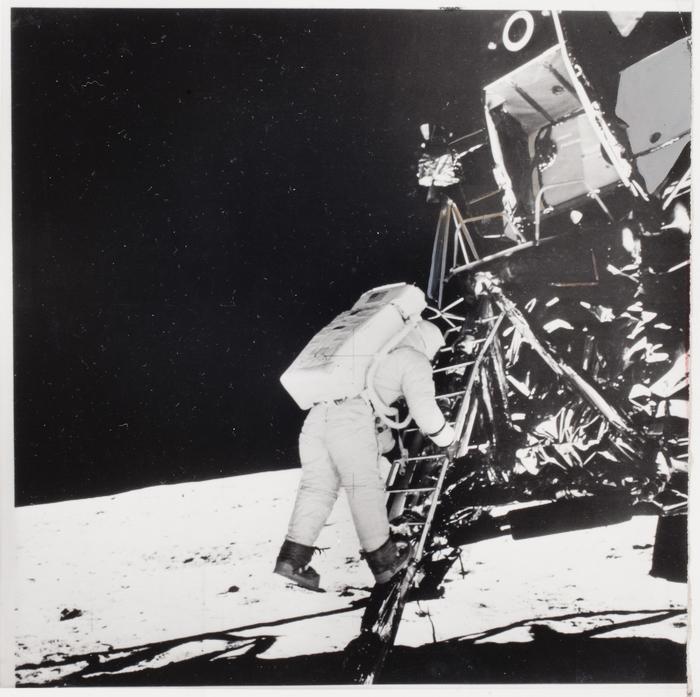 [Buzz Aldrin landing on moon]