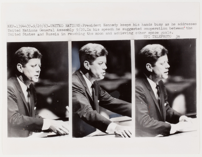 [President John F. Kennedy speaking at the U. N. General Assembly, United Nations]
