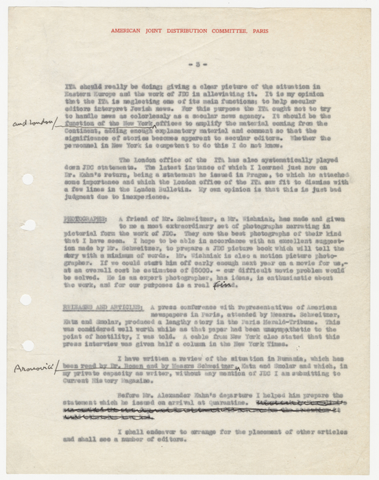 Report of Herbert J. Seligmann, Director of Public Information, Offices of the American Jewish Joint Distribution Committee (JDC) in Paris