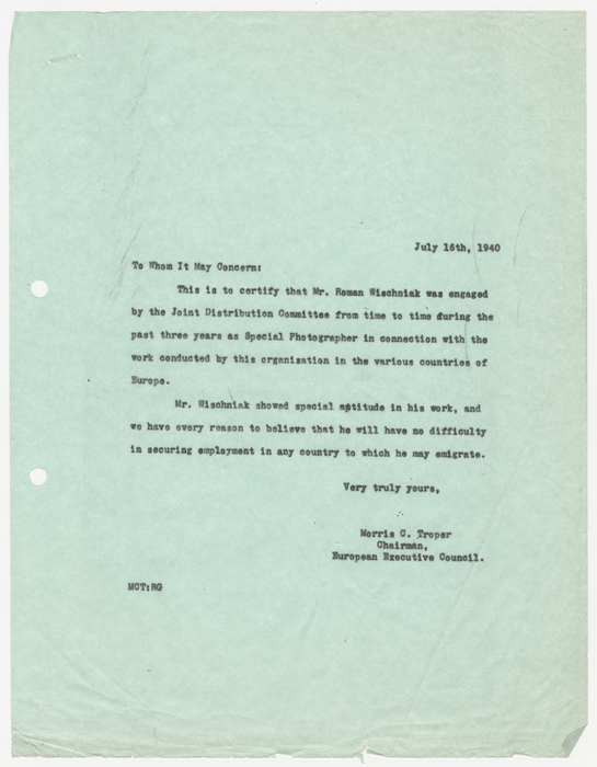 Letter from Morris C. Troper, Chairman of the European Executive Council of the American Jewish Joint Distribution Committee (JDC) in New York