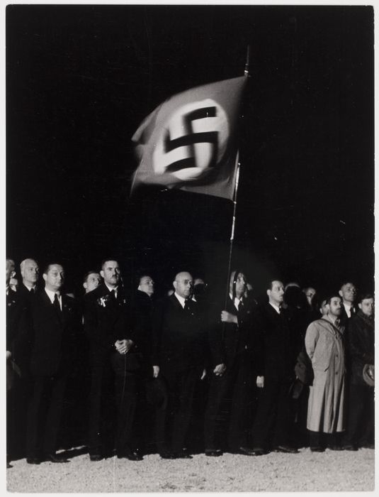 crowd with nazi flag at the time of a peace rally, verdun, france] |  international center of photography  international center of photography