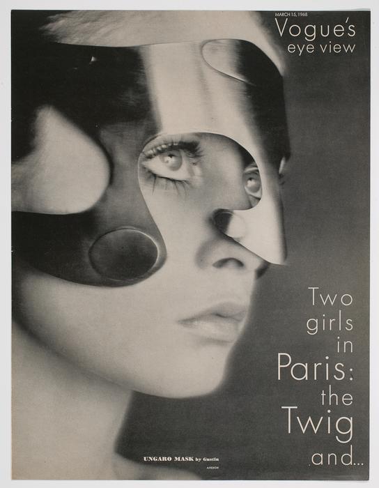 [British model Tiggy wears an Emanuel Ungaro mask]