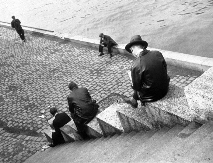 Three Men on Steps near the Seine