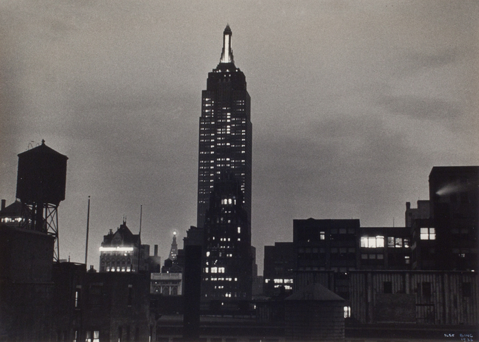 [View of Empire State building at night]