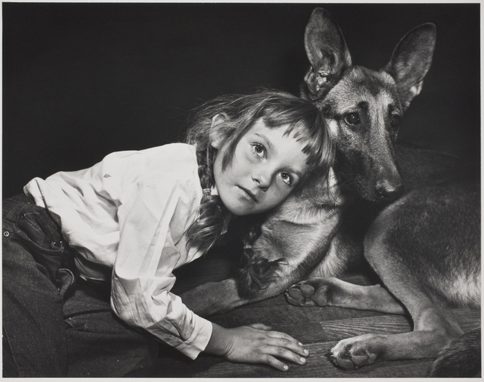 Helen lying down with dog